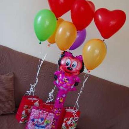 dekoracje balonowe, balony na hel, pudło z balonami na hel