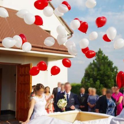niespodzianka na ślub wesele, Pudło z balonami z helem, balony z helem